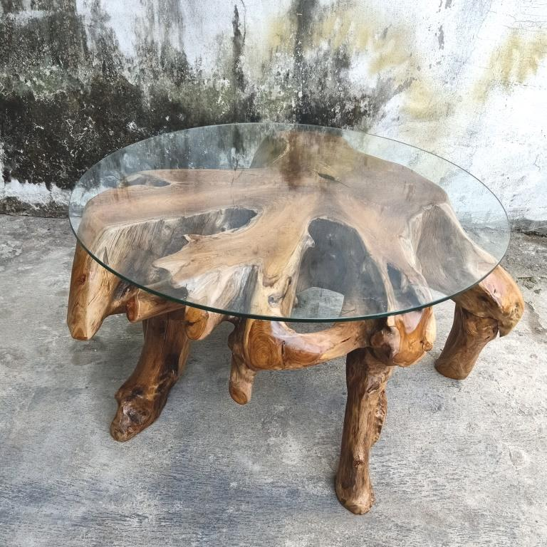 Admirable Teak Solid Root Coffee Table W Glass Download Free Architecture Designs Scobabritishbridgeorg